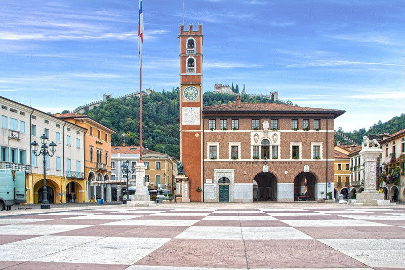 The Chess Square of Marostica and the upper castle on the hill on background