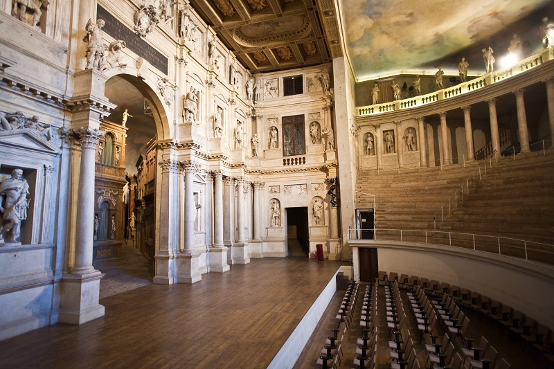 VICENCA, ITALY - AUG 4, 2009: Theatro Olympico in Vicenca, Italy. It is the oldest surviving stage set still in existence.