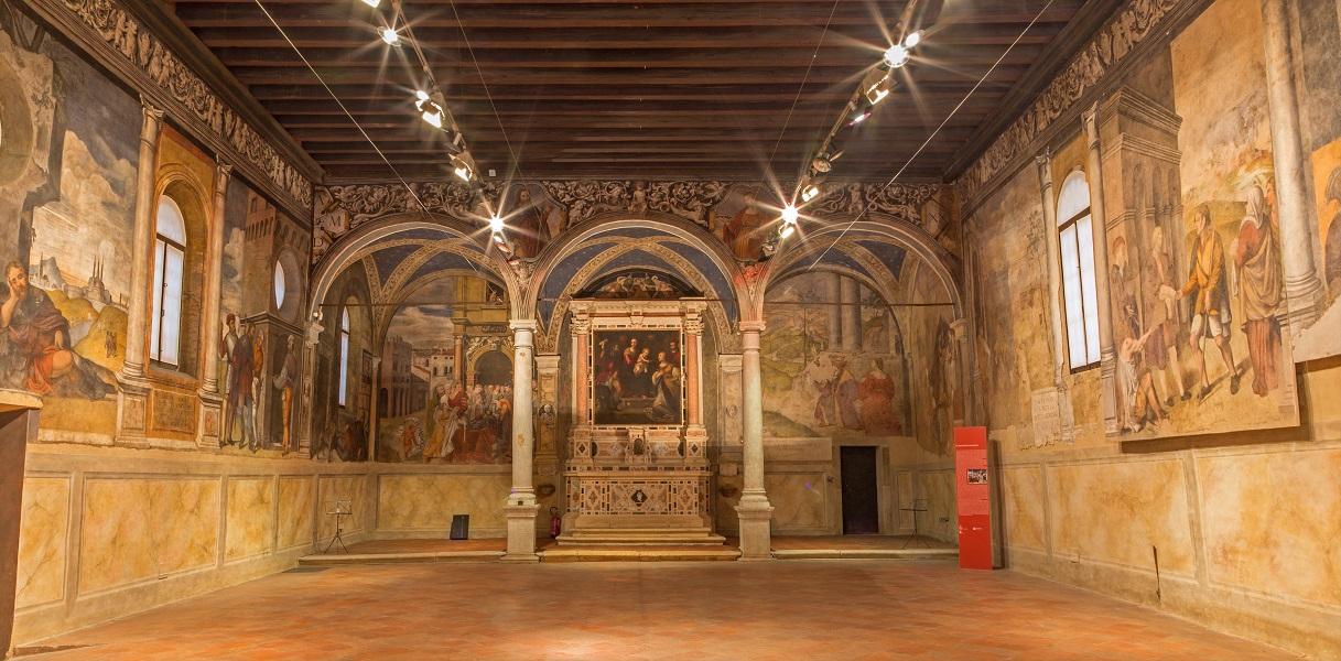 PADUA, ITALY - SEPTEMBER 9, 2014: The indoor of Oratorio di San Rocco.
