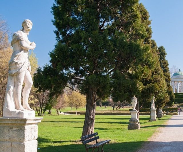 The main avenue of Querini park in Vicenza with its typical ornamental statues and sculptures